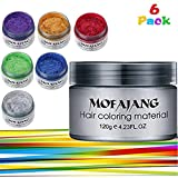 6 Colores Unisex Multi-Color Modelado Temporal Moda Bricolaje Color de Pelo Cera Barro Crema Colorante (6 PCS)