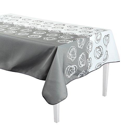 Déco de Rêve Nappe Antitache, Polyester, Gris/Blanc, 160x160 cm