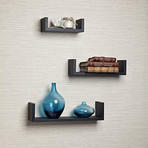 Danya B - Set di 3 mensole in legno di faggio con finitura, forma di U, colore: nero