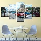 xzfddn Arte de la Pared La Habana Cuba Coche Ciudad Pinturas Lienzo Fotos Decoración para el hogar 5 Piezas HD Impresiones Paisaje Carteles