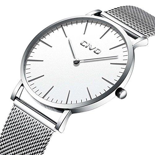 CIVO Unisex Herren Damen Uhren Ultra Dünne Minimalistische Dünne Silber Edelstahl Mesh Armband Wasserdicht Luxus Mode Armbanduhr mit Weiß Zifferblatt Elegant Geschäfts Beiläufig Analog Quarz Uhren
