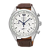 Seiko SSB095P1 - Reloj de cuarzo para hombre, con correa de cuero, color marrón de Seiko