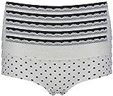 Ex Store Damen Panty Gr. 12, 5 Pack Cream + Navy Spot