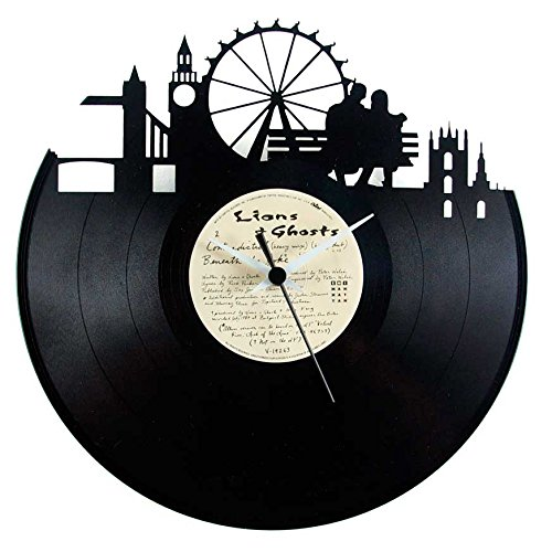 London orologio in vinile (Londra) idea regalo souvenir colore nero originale Vinyluse
