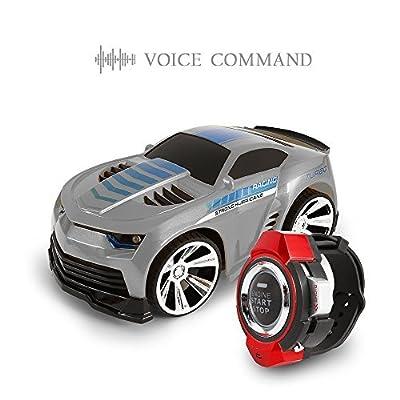 SainSmart Jr. VC-02 Voice Command Auto, nachladbare Radiosteuerung durch Smart Watch, kreative Sprachgesteuerte RC Auto, Dazzling Scheinwerfer und Cool Bremsen, Grau