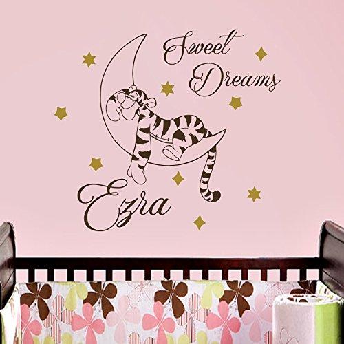 Vinyl Wandtattoo Zitat Sweet Dreams Winnie Puuh the Pooh Tiger Gute Nacht mit Namen für Mädchen Junge Kinder Wandaufkleber Wandsticker Wanddekoration für Schlafzimmer Kinderzimmer Babyzimmer A346 (Gute Nacht Zitate)