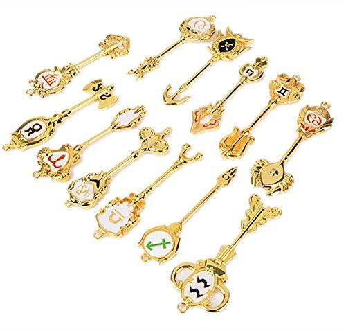 Mesky Fairy Tail Schlüsselanhänger Halskette Cosplay Pendant Kette Set für Fans aus Zinklegierung 12er Set
