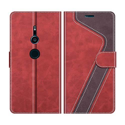 MOBESV Sony Xperia XZ2 Hülle Leder, Sony Xperia XZ2 Tasche Lederhülle Wallet Case Ledertasche Handyhülle Schutzhülle für Sony Xperia XZ2, Modisch Rot