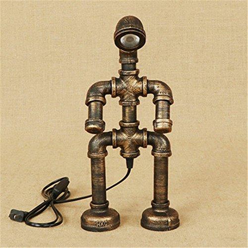 XIAOBIDENG Neuheit industrielle Retro Loft LED Wasserleitung Tischleuchte Vintage iron Faucet Light Roboter Schreibtisch Lampen für Haus Bett Dekoration (Bunny-eisen-bett)