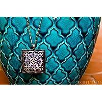 Collana Fotografico di Ceramica e Resina ecologico - Mosaico blu - Gioielli Mosaici dell'Alhambra - regalo originale - Regalo Festa della mamma