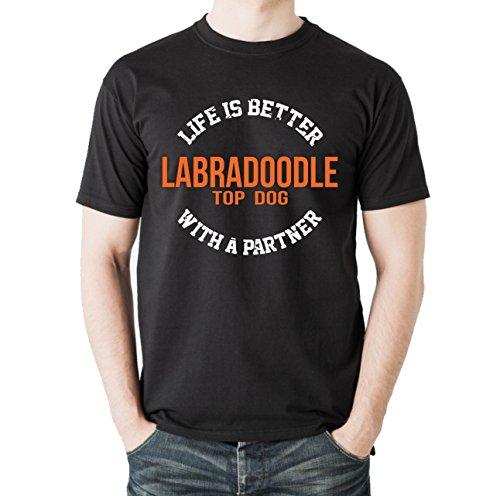 Siviwonder Unisex T-Shirt TLIB_LABRADOODLE - LIFE IS BETTER PARTNER Hunde Schwarz