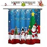 shaoyunshop Weihnachts-Motiv Duschvorhang Weihnachtsmann mit Geschenken Muster Badezimmer Dekoration Vorhänge mit 12 Haken 177,8 x 149,9 cm e