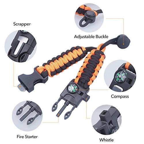 Imagen de 2 piezas ajustable paracord pulsera de supervivencia, 5 en 1 kits de supervivencia / brazalete de supervivencia alternativa