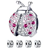 Ciondolo coccinella, S925 Charms Crystal Blessing Ciondolo in perline rosa con perline Stopper per bracciale e collana