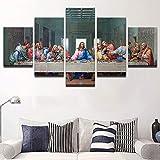 Kshvc Rahmenlos LeinwandmalereiLeinwand Poster Wandkunst 5 Panel Jesus Abstrakte Malerei Modular Hd Print Letzte Abendmahl Bilder Modular Wohnzimmer Dekor-A
