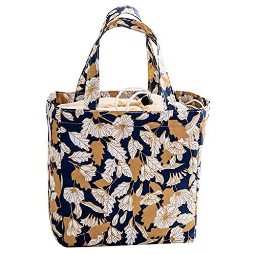 Oldpapa borsa termica impermeabile borsa porta pranzo portatile borsa frigo pranzo lunch bag per ufficio, scuola e picnic 20×20×13 cm,foglie autunnali