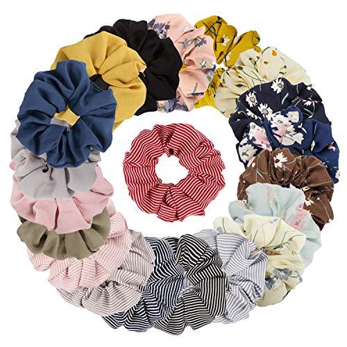 Sinwind 20 Stück Scrunchies Chiffon Haargummis elastische Haargummis Haargummis Mädchen Scrunchie für Frauen oder Mädchen Haarschmuck (Bunten) -
