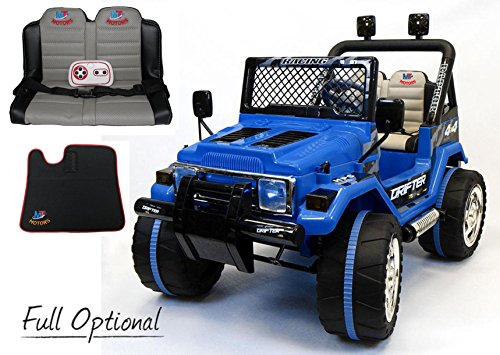 Mondial Toys AUTO ELETTRICA 12V DRIFTER 2 POSTI PER BAMBINI CON TELECOMANDO 2.4G SOFT START FULL OPTIONAL BLU