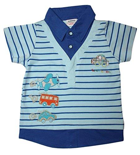 Jungen Kinder Polo-Shirt ABC-Applikation mit Fahrzeugen, Flugzeug, Auto und Bus in orange (86-92 (12-24 Monate), blau) (Abc Shirts)