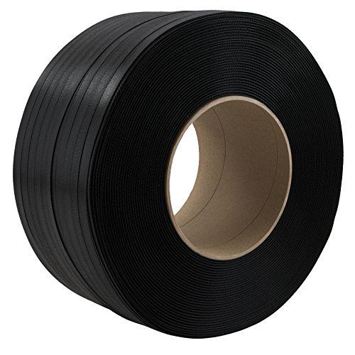 Preisvergleich Produktbild 2 Rollen PP Umreifungsband Breite 12 mm Stärke 0,55 mm Länge je 3000 m Reißfestigkeit 135 KG Kern 200 mm Schwarz