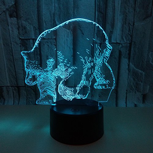 SQL 3D Polar Bear LED Touch Remote Control Night Light Colorful Acrylic Lamp (Remote Control Wall Plate)