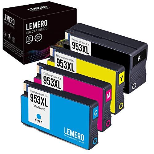 Schwarz Inkjet Ersatz (LEMERO Ersetzungen Kompatibel für HP 953 XL 953XL Druckerpatronen für HP OfficeJet Pro 8210 8218 8710 8715 8718 8719 8720 8725 8728 8730 8740 7740 wf All-in-One (4 Pack))