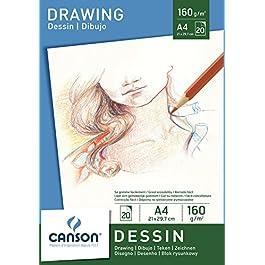 Canson 200005779 – Carta da disegno, formato A4, 160 g/m², 20 fogli, colore: bianco