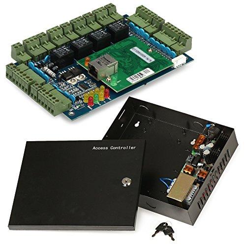 ZOTER Zugang Control Board, Ethernet TCP IP Netzwerk Haustür-Panel Controller 4Türen 4Leser Datenbank Sicherheit System + AC 220V Metall Netzteil Box -