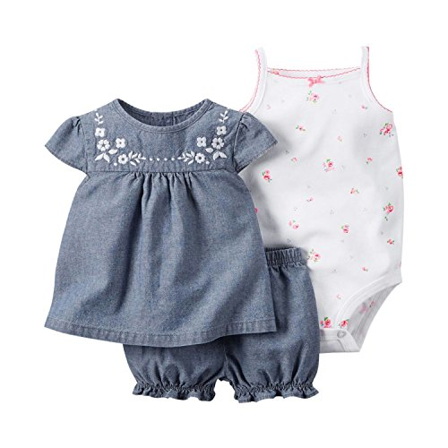 YASSON 3 Pcs Baby Mädchen Bekleidungsset Strap Body Kurzarm Rundhals Top Shirt Kurzhose Babyset mit Blumen Gestickt Neugeborenes Babyausstattung Outfit