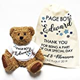 Personalised wedding teddy bear Little Stars Pageboy and gift bag Thank you