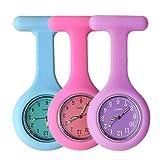 Schwesternuhr Ansteckuhr FOB, Glow Pointer im Dunkeln, Silikonband mit Pin/Clip, Taschenuhr für Health Care Arbeiter, Krankenschwester-Doktor FOB-Uhr Damen Silikon (3 Stück,Blaue Rose Lila)