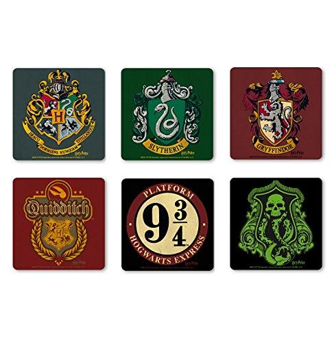 Film-Harry-Potter-Hogwarts-School-of-Witchcraft-and-Wizardry-Set-of-coasters-Set-of-6-Drinks-Mats-multicoloured-Licensed-original-design-Logoshirt