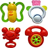 #7: Blossom Baby Teethers Rattle Toy (Set of 4 Pcs) with Various Exciting Rattle Toys for New Borns & Infants, Multi Color