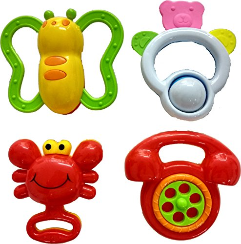 Blossom Baby Teethers Rattle Toy (Set of 4 Pcs) with Various Exciting Rattle Toys for New Borns & Infants, Multi Color