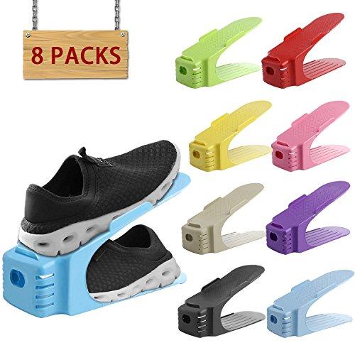 organizador zapatos Soporte de calzado | organizador de calzado con ranura (8PCS) Ahorro de espacio de Almacenamiento de Zapatos duradera (Mixed Color)
