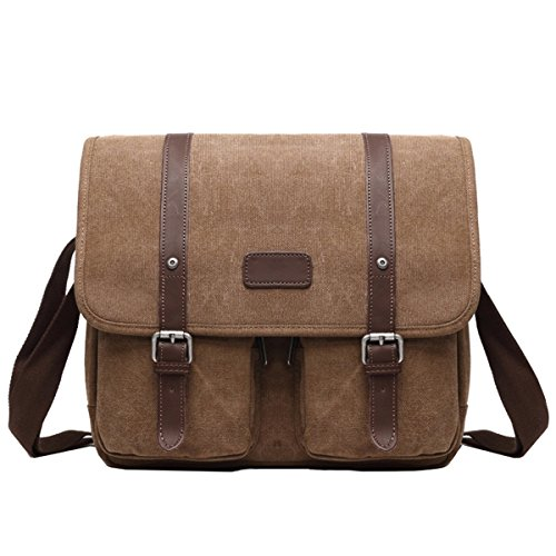 5db3029ee9 Hozee Men s Shoulder Messenger Bag- Canvas Crossbody Briefcase Day Bag  Laptop Bag for 14 Inches(Coffee)