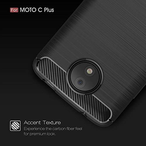 EKINHUI Case Cover Dünne und Leightweight Brushed Carbon Fibre Robuste Rüstung Back Cover Stoßstange Fall Shockproof Drop Resistance Shell Cover für MOTO C Plus ( Color : Red ) Black