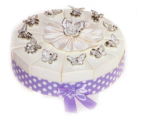 Torta bomboniere 11 fette di torta con farfalla in resina argentata completo di confetti bianchi crispo al cioccolato