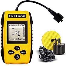 JJOBS Rastreador de Peces Portátil, Sonar para Pesca, con Cable Sensor transductor y Pantalla