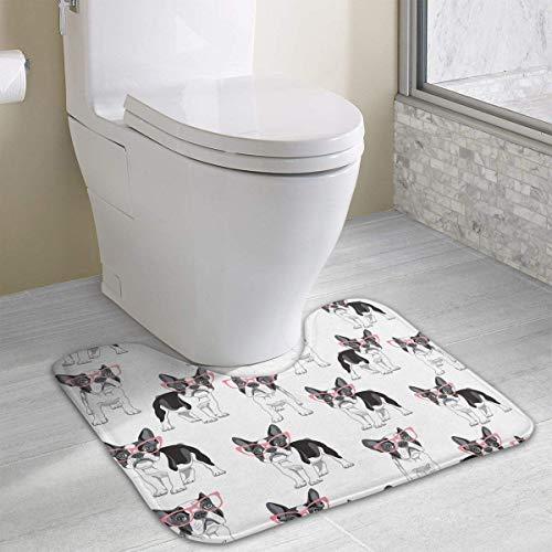 Hoklcvd Französische Bulldogge in Einer rosa Brille U-förmige Toilette Bodenteppich Rutschfeste Toilette Teppiche ()