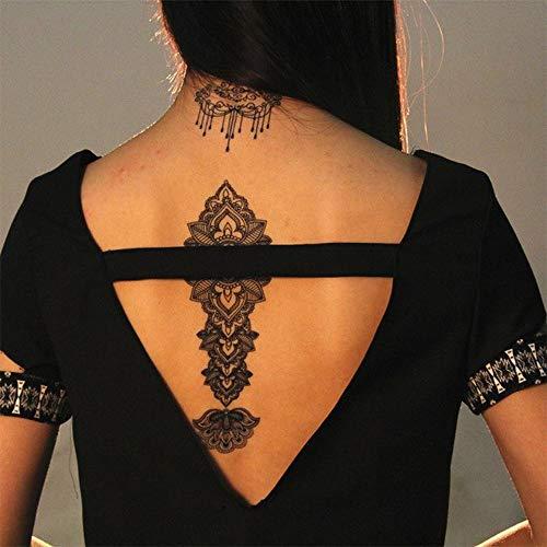 Tatuajes temporales de flores mandalas rosas para hombre y mujer, tatuaje temporal, 21 x 15 cm