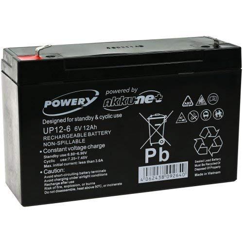 Batteria al Gel di piombo Powery per: -veicoli giocattolo , auto,Quads, moto 6V 12Ah (sostituisce anche 10Ah)