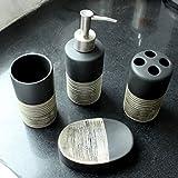 Masterein 4PCS klassischer Art-Keramik-Seifenschale Spender Zahnbürstenhalter Badezimmer Set Keramik Cup Lotion Bottle Kit Schwarz
