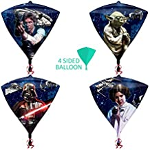 Nuevo Star Wars Original forma de diamante de cuatro caras globo 38cm x 43cm–decoración 3d para niños adultos Regalo de cumpleaños Foil Darth Vader Han Solo princesa Leia Star Wars Millenium Falcon X-Wing Tie/X1Star distroyer