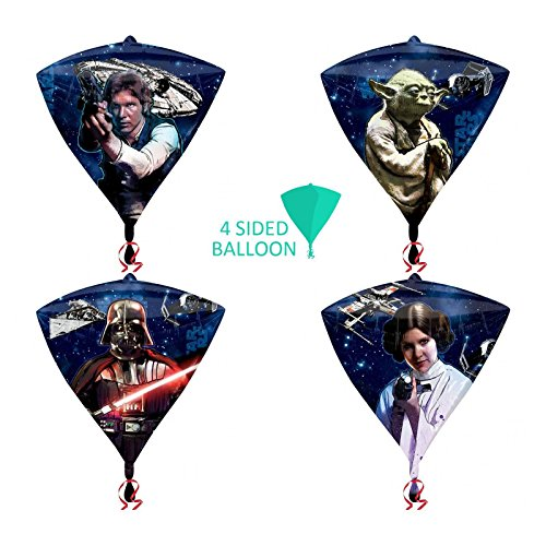 New Original Star Wars Diamant Form 4-seitige Ballon 38cm x 43cm Party Dekoration 3D Kinder Erwachsene Geburtstag Geschenk Folie Darth Vader HAN SOLO Prinzessin Leia Yoda Millenium Falcon Krawatte/X1Star Distroyer X-Wing