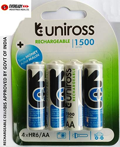 EVEREADY NI MH Rechargeable Batteries   by UNIROSS  FRATELLI 1500 Series   4 AA Batteries