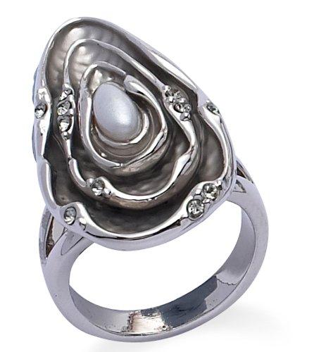 Jodie Rose Ring Silber Farbe Metall mit Kunstperlen (Mckenzie Metall)