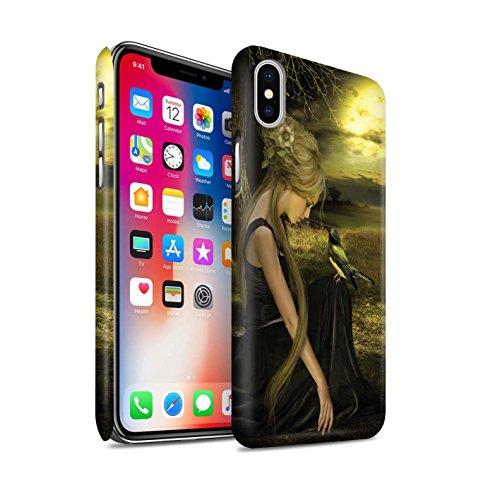 Officiel Elena Dudina Coque / Clipser Matte Etui pour Apple iPhone X/10 / Faucon Gardien/Épée Design / Les Oiseaux Collection Coucher Soleil