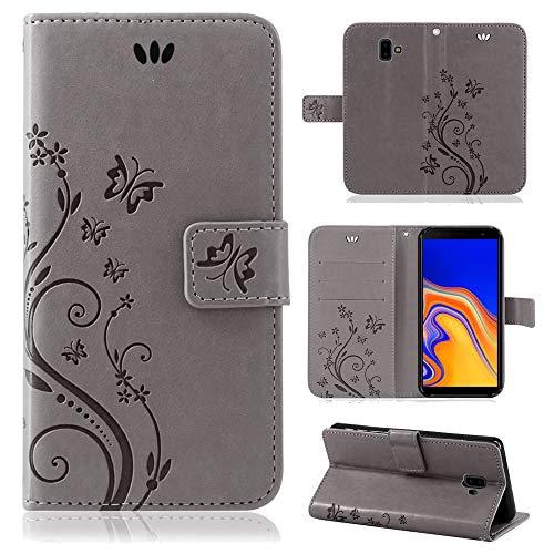 betterfon | Flower Case Handytasche Schutzhülle Blumen Klapptasche Handyhülle Handy Schale für Samsung Galaxy J6 Plus 2018 Grau