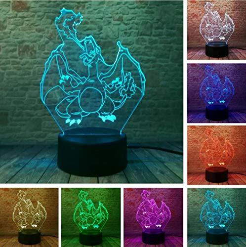Pikachu Pokeball Bulbasaur Bay Rolle 3D RGB Lampe,Pokemon Go Action Figure visuelle Illusion LED Urlaub Weihnachtsgeschenke Nachtlicht